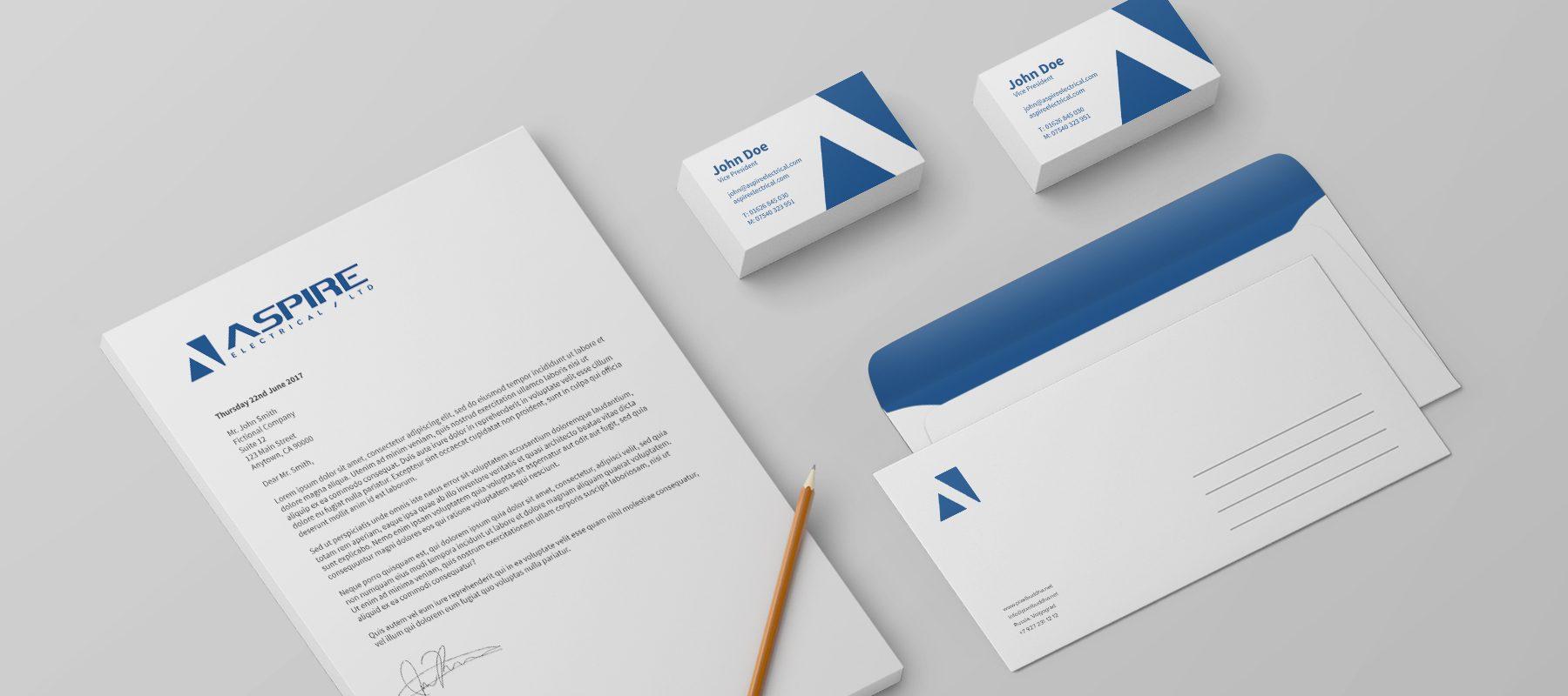 branded stationery mockup aspire electrical graphic print design