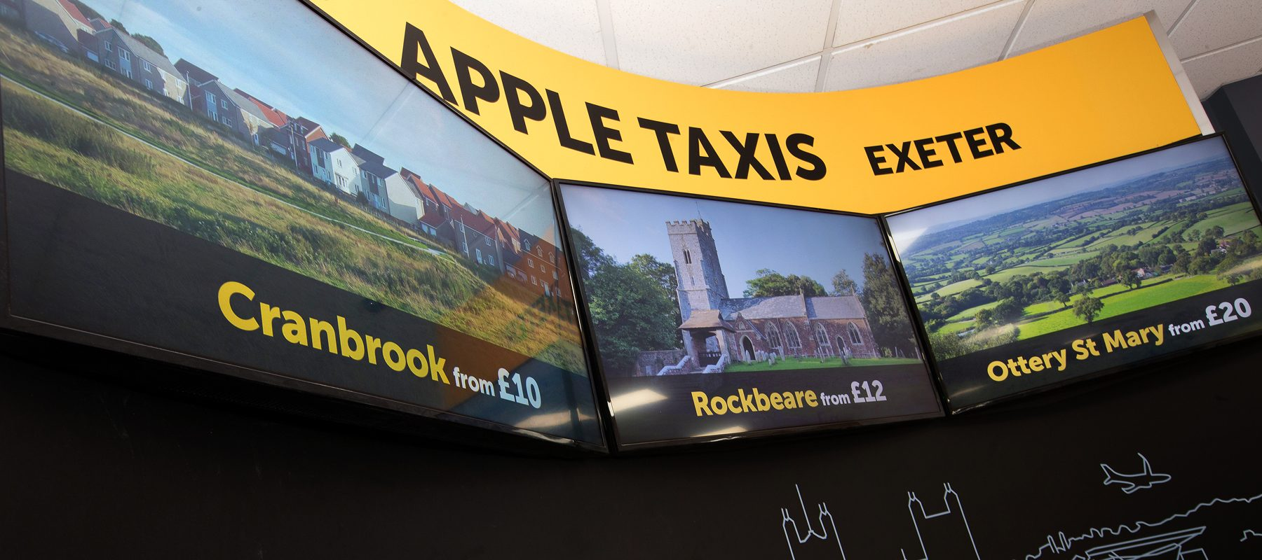 apple taxis exeter digital signage cranbrook rockbeare ottery st mary